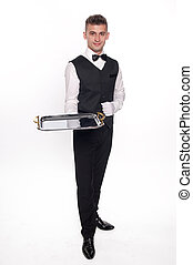 Haughty waiter holding an empty tray to place your product -...