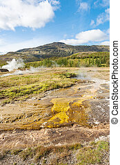 Haukadalur geyser area in Iceland in autumn