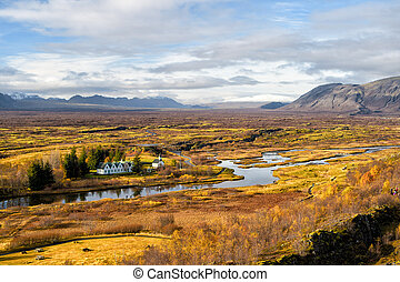 Haukadalur valley in Iceland. Beautiful landscape with river...