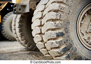 Haul dump truck tire close up