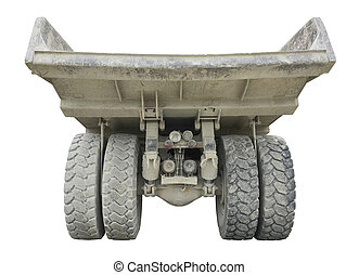 backside of a rundown dump truck in white back