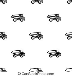 Haul truck icon in black style isolated on white background. Mine pattern stock vector illustration.