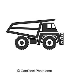 Haul truck icon in black style isolated on white background. Mine symbol stock vector illustration.