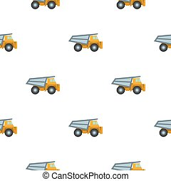 Haul truck icon in cartoon style isolated on white background. Mine pattern stock vector illustration.