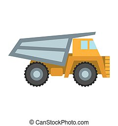 Haul truck icon in cartoon style isolated on white background. Mine symbol stock vector illustration.