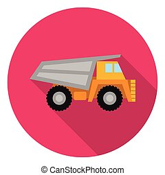Haul truck icon in flat style isolated on white background. Mine symbol stock vector illustration.