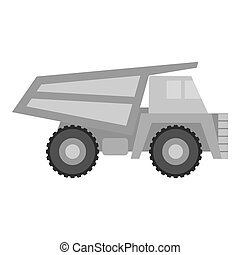 Haul truck icon in monochrome style isolated on white background. Mine symbol stock vector illustration.