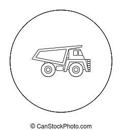 Haul truck icon in outline style isolated on white background. Mine symbol stock vector illustration.