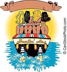 Hauling Ass - off shore sport boat hauling 4 women