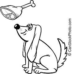 haunch, coloração, cão, página, caricatura