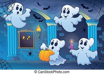 Haunted castle interior theme 6 - eps10 vector illustration.
