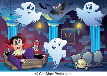 Haunted castle interior theme 7 - eps10 vector illustration.