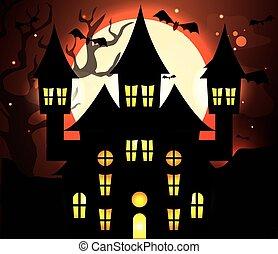haunted castle with bats flying in halloween scene