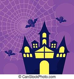 haunted castle with bats flying in scene halloween