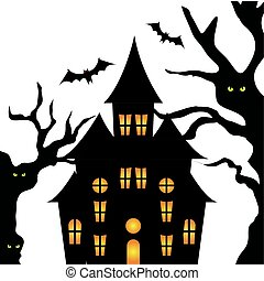 haunted castle with tree halloween