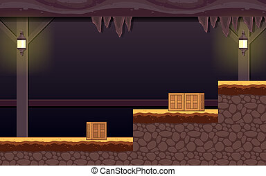 Haunted Dungeon Game Background - Suitable for side...