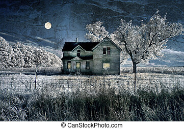 Haunted farmhouse under a full moon in infrared with grunge texture added.