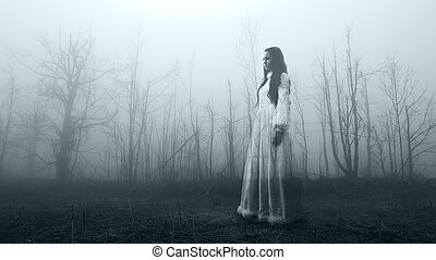 Haunted Female Ghost in the Forest
