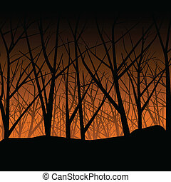 Eerie haunted autumn forest setting at sunset