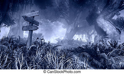 Haunted Forest - Monochrome illustration of a mystic forest...