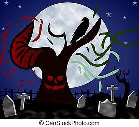 Haunted Graveyard at Night