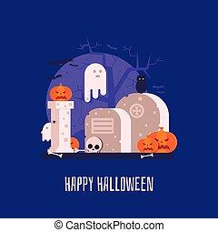 Haunted Graveyard Halloween Card