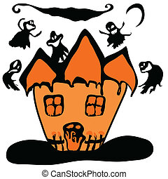 Haunted halloween witch house