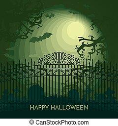 Haunted Happy Halloween vector banner cemetery