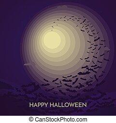 Haunted Happy Halloween vector banner with bats