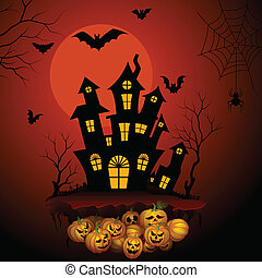 Haunted horror house in Halloween night