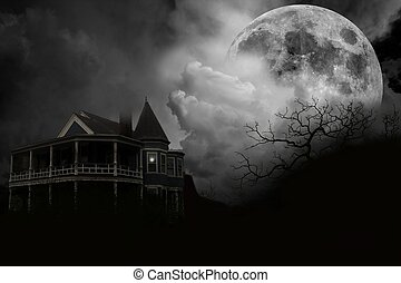 Haunted House - A haunted halloween house in the mist with...