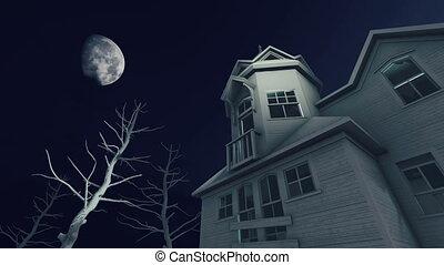 Haunted house at scary moon night 4K