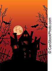 Haunted house - Haunted house on hill with spooky trees,...