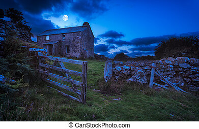 Haunted House - Creepy derelict haunted house under a full...