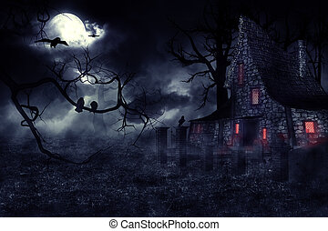 Haunted House - Dark mysterious halloween landscape with an...
