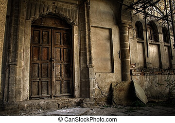 Haunted house - Front of a creepy old house - vintage ...