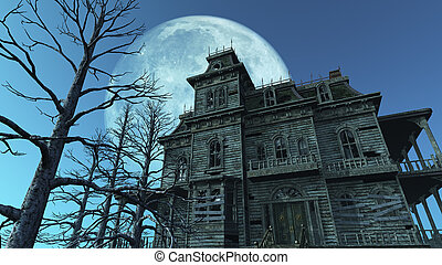 Haunted House - Full Moon - A spooky old haunted house on a...