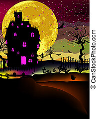Haunted house halloween background. EPS 8