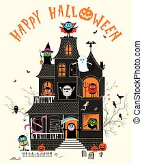 Haunted House - Halloween illustration with spooky haunted ...