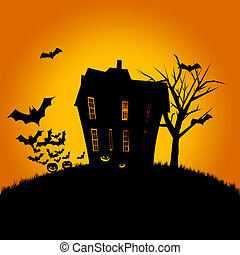 Halloween poster of a haunted house, pumpkins and flying bats. Room for text.