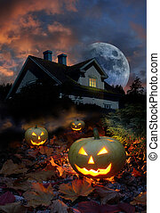 Haunted house halloween pumpkins