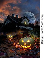 Haunted house halloween pumpkins