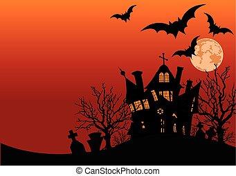 Haunted house - Illustration of Halloween haunted house...