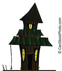 Haunted House - A halloween haunted house isolated over a...