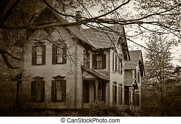haunted house in sepia