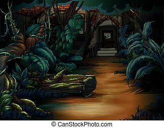 Haunted house in the deep forest
