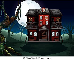 Haunted house in the woods at night illustration