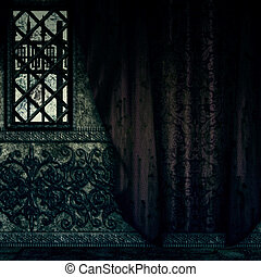 Digitally rendered image of old haunted house interior with red curtains.
