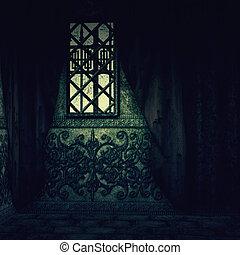 Haunted house interior - Digitally rendered image of old...