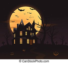 Haunted house mansion Halloween background